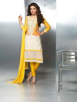 Yellow embroidered nazneen unstitched salwar with dupatta