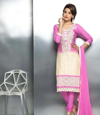 Pink embroidered nazneen unstitched salwar with dupatta