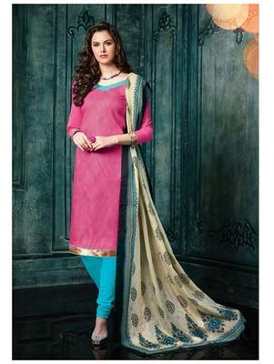 Pink plain jacquard unstitched salwar with dupatta