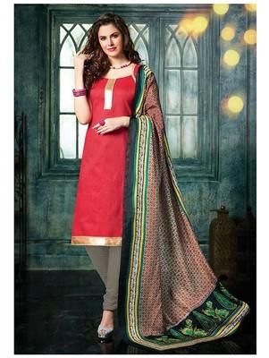 Red plain jacquard unstitched salwar with dupatta