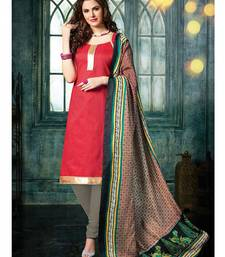 Red plain jacquard unstitched salwar with dupatta