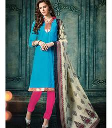 Blue plain jacquard unstitched salwar with dupatta