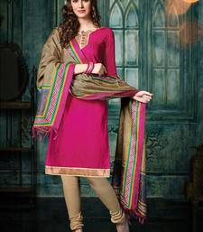 Magenta plain jacquard unstitched salwar with dupatta