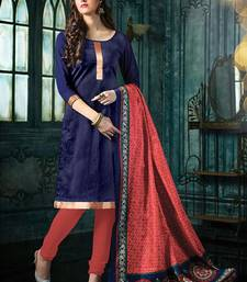 Blue plain jacquard unstitched salwar with dupatta ethnic-suit