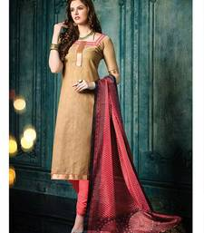 Buy Brown plain jacquard unstitched salwar with dupatta ethnic-suit online