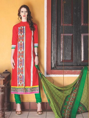 Red digital print jacquard unstitched salwar with dupatta