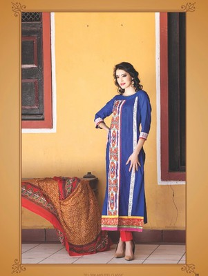 Blue digital print jacquard unstitched salwar with dupatta