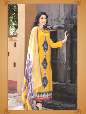 Yellow digital print jacquard unstitched salwar with dupatta