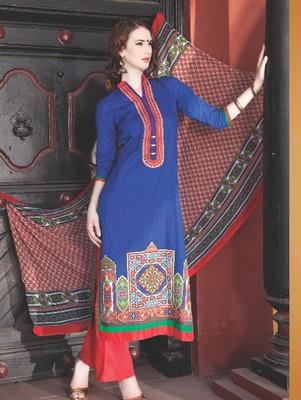 Blue digital print jacquard unstitched salwar with dupatta