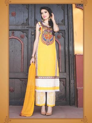 Yellow digital print jacquard unstitched salwar with dupatta
