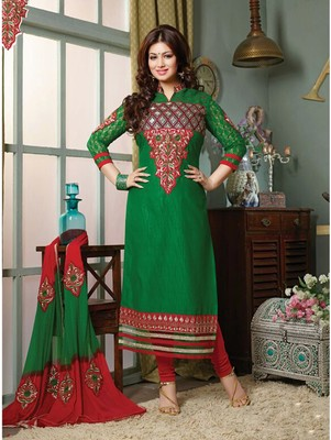 Green embroidered cotton unstitched salwar with dupatta