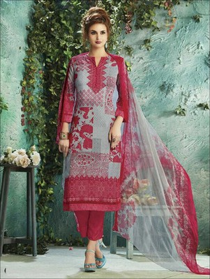 Grey digital print georgette unstitched salwar with dupatta