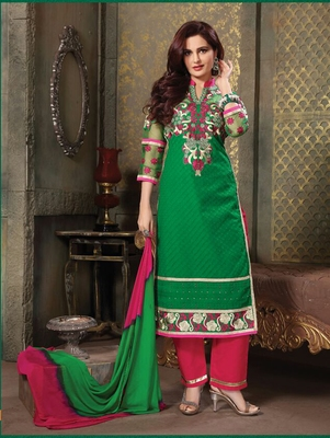Green chikankari cotton semi stitched salwar with dupatta