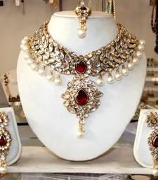 Buy Maroon Kundan Pearl drop Choker necklace Earring tika set necklace-set online