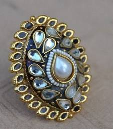 Ethnic Polki Ring with Red Enamel and Pearls