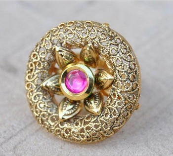 Intricately Designed Cocktail Finger Ring Studded with Ruby