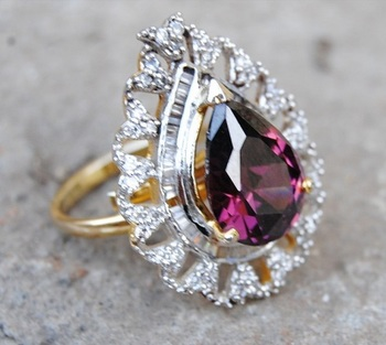 Pink Drop Diamond Cocktail Ring