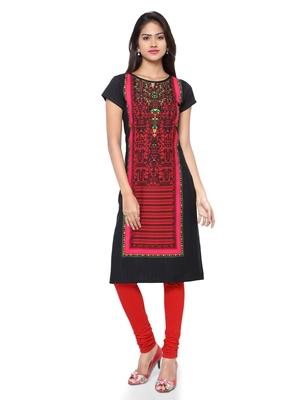 Black printed crepe ethnic-kurtis