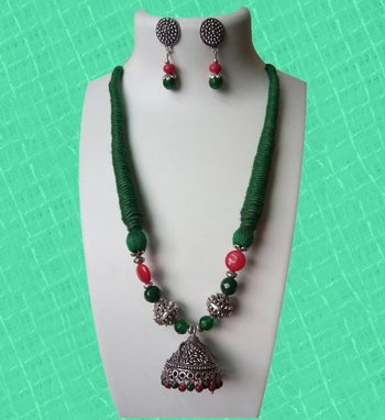 Green Trendy Jhumka Necklace Set