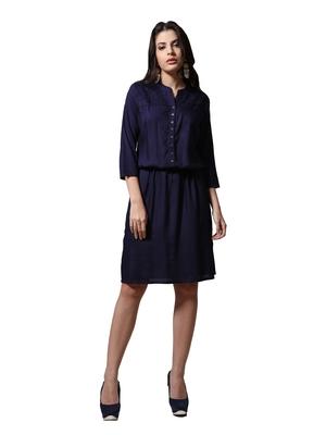 Navy-blue plain cotton poly ethnic-kurtis