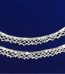 Ethnic India Silver Plated Lace Payal Anklets Pair Sp15