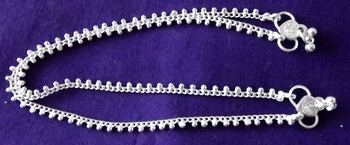 Silver Plated Chain Anklet Payal Pair Sa11