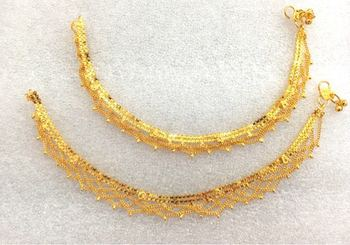 ETHNIC INDIA GOLD PLATED PAYAL ANKLETS PAIR SP14