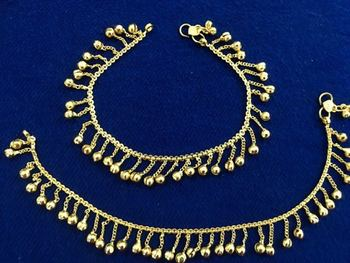 Ethnic India Gold Plated Bells Payal Anklets Pair Sp13