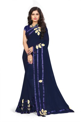 Navy blue woven georgette saree with blouse