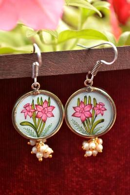 Handpainted Designer Silver Disc Earrings with Pearls in Bottom