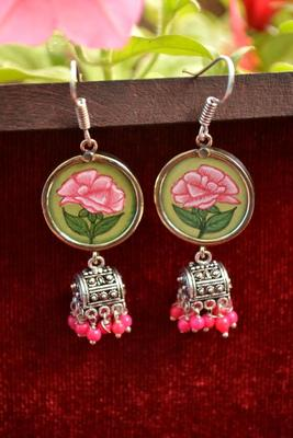 Handpainted Designer Silver Disc Earrings with Jhumka in Bottom