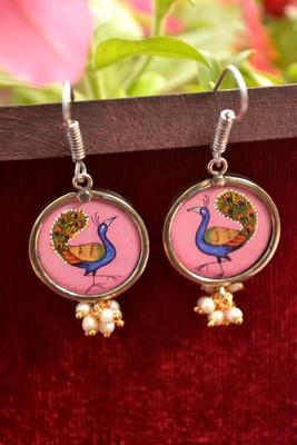 Handpainted Designer Silver Disc Earrings with Jhumka in Bottom