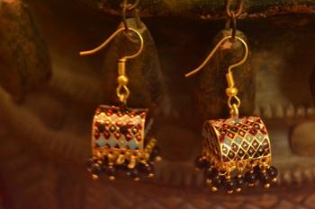 Designer Fine Detailed Meenkari Indian style Jhumka earrings