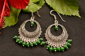 Designer Oxidised Silver jhumka Earrings