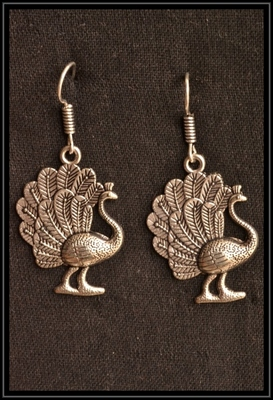 Designer Peacock Oxidised Silver jhumka Earrings