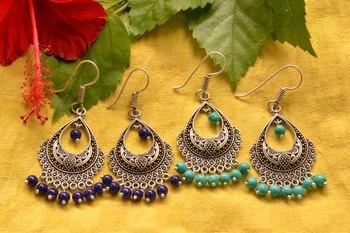 Designer Oxidised Silver jhumka Earrings