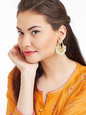 Kundan Stone Semi Precious Gold Plated Floral Pearl Dangler Stud Earrings