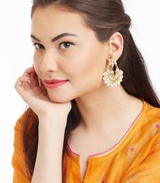 Kundan Stone Semi Precious Gold Plated Floral Pearl Dangler Stud Earrings