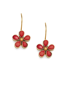 Kundan Stone Semi Precious Gold Plated Floral Dangler Earrings
