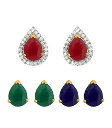 Designer inter-changeable 3 In 1 Colourful Studs to match daily outfits