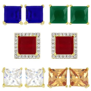 Designer inter-changeable 5 In 1 Colourful Studs to match daily outfits