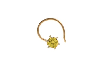 Designer Greenish Yellow Coloured Diamond Classic Nose Pin or Nose Ring
