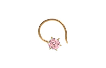 Designer Light Pink Coloured Diamond Classic Nose Pin or Nose Ring