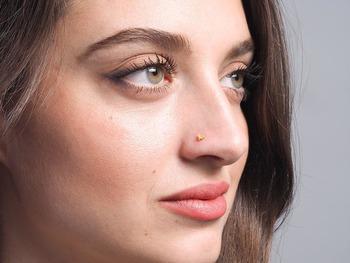 Designer Orange Coloured Diamond Classic Nose Pin or Nose Ring