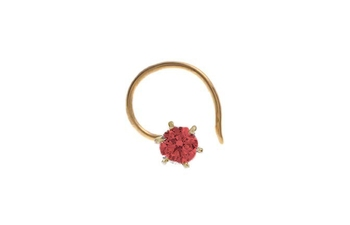 Designer Red Coloured Diamond Classic Nose Pin or Nose Ring