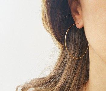 Designer Golden Bold look 2.3 inch diametre Hoop Earrings