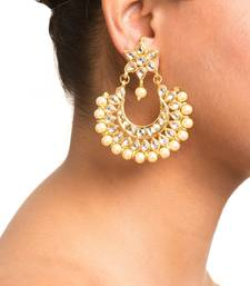 Buy Kundan Stone Semi Precious Gold Plated Floral Pearl Dangler Stud Earrings chandbali online