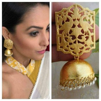 Designer Gold plated high gloss golden Filigree or Jali work jhumka with pearl in bottom