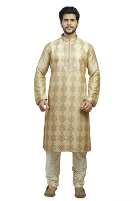 Fawn Geecha Kurtaset With All Over Machine Anchor Embroidery With Cording On Placket Patti With Gundi Buttons
