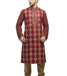 Maroon  Geecha Kurtaset With All Over Machine Anchor Embroidery With Cording On Placket Patti With Gundi Buttons